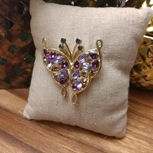 Napier colorful crystal & gold butterfly brooch